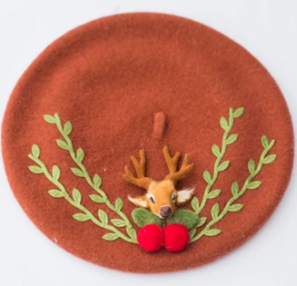 Vintage inspired deer and cherry hat
