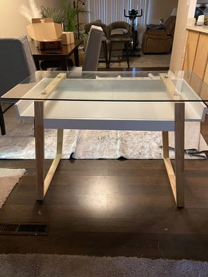 Brand new glass writing desk table poly and bark for Sale in Reynoldsburg, OH