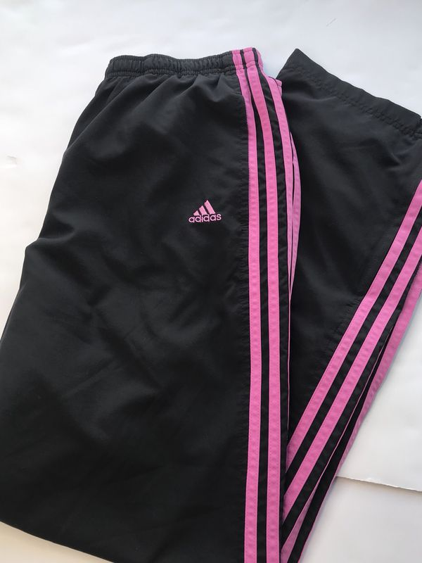 Womens Adidas Track Jogging Windbreaker Pants Black And Pink Striped Size M