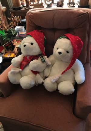 White furry stuffed polar bear dolls for Christmas for Sale in Alexandria, VA