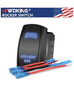 LED Light Bar Rocker Switch - 4WDKING Momentary On/Off Push Button Toggle Switch with Jumper Wire 5 Pins Blue LED Lights 20A 12V. (Blue Light - LJ34) for Sale in Tempe, AZ