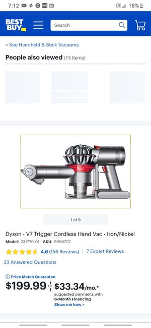 DYSON V7 TRIGGE4 HANDHELD VACUUM 100W POWER for Sale in New York, NY