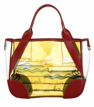 RED SAILBOAT PRADA PLASTIC RED LEATHER MULTI BEACH TOTE BAG for Sale in Winter Springs, FL