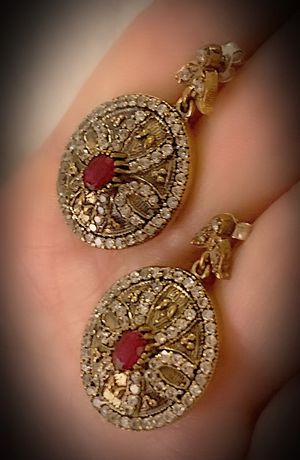 PIGEON BLOOD RED RUBY DANGLE POST EARRINGS Solid 925 Sterling Silver/Gold WOW! Brilliantly Faceted Oval Cut Gemstones, Diamond Topaz M6935 V for Sale in San Diego, CA