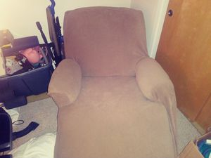 Green soft cloth reclining chair with new tan complete chair cover for Sale in Brockton, MA