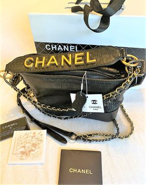 CHANEL Gabrielle Hobo Bag Crocodile Embossed Calfskin Gold/Silver-Tone Small Black for Sale in Arlington, TX