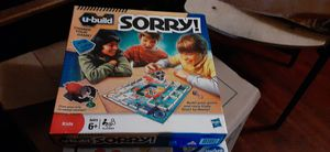 Hasbro 2010 U-Build LEGO SORRY ! Kids Building Board Game Complete Ages 6+ for Sale in Cleveland, OH
