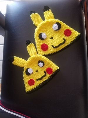2 handmade knitted pikachu beanies for Sale in Salinas, CA
