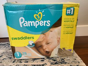 Pampers Swaddlers size 1, 216 count for Sale in Everett, WA