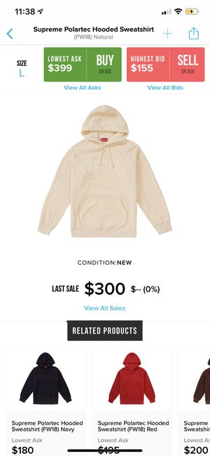 Supreme natural polartec hooded sweatshirt for Sale in Buckeye, AZ