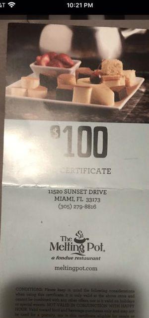 Melting pot certificate for Sale in Miami, FL