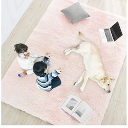 Rug 5x7 area BRAND NEW plush super soft carpet blush pink rubber backing vacuum safe baby nursery decor no shed HUGE bedroom living room dining carpet for Sale in Orange Park,  FL
