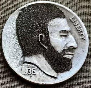 """Hand Carved """"Hobo"""" Buffalo Nickel 1936 Date One of a Kind """"Well Groomed Man"""" for Sale in Batavia, IL"""