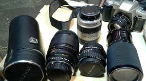 Pentax camera digital and tower camera plus Lenses lot soligor lot for Sale in St. Louis, MO