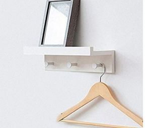 Hanging Wall Shelves with Coat Racks Color: white Material: bamboo Dimensions: 14 in W x 4.7 in D x 3.2 in H Overall Weight Capacity: 15 lbs for Sale in Ontario, CA