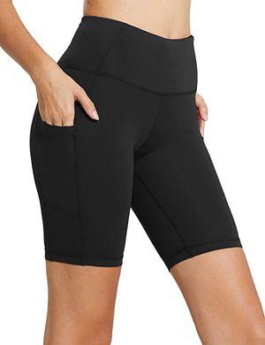 BALEAF Women's High Waist Workout Biker Yoga Running Compression Exercise Shorts Side Pockets for Sale in Santa Ana, CA
