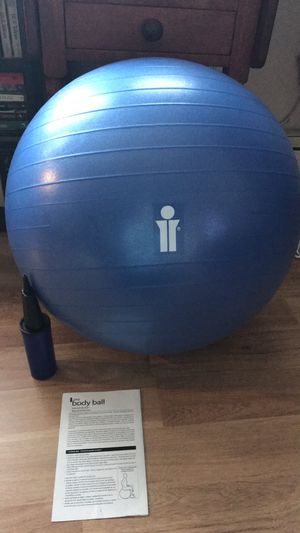 Exercise Ball, Pump, & Workout Pamphlet for Sale in New Haven, CT