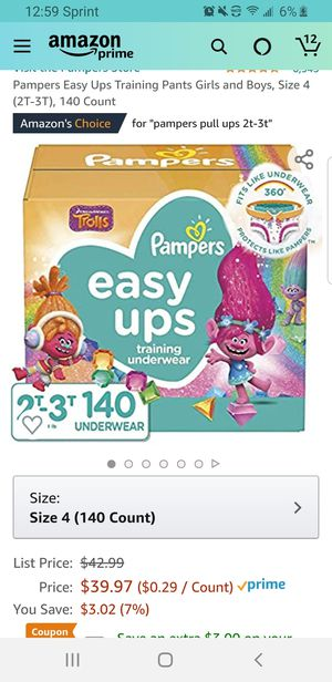 Pampers Easy Ups Training Pants Girls and Boys, Size 4 (2T-3T), 140 Count for Sale in Clovis, CA