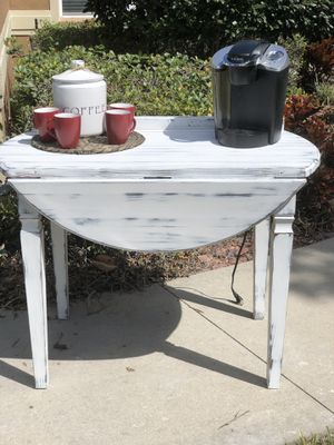 Farmhouse shabby chic small kitchen table coffee bar drop leaf for Sale in Clermont, FL