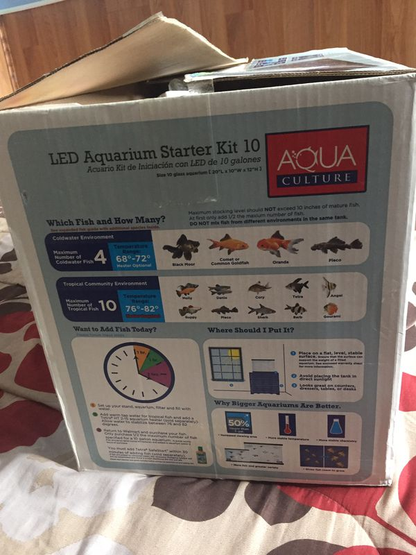 10 gallons aquarium with led hood and filter with catridges