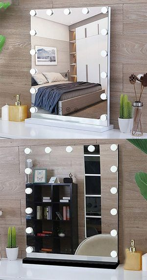 """(New in box) $110 Vanity Mirror w/ 15 Dimmable LED Light Bulbs Beauty Makeup 16x20"""" (White or Black) for Sale in Whittier, CA"""