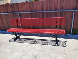 """96"""" Bench With Backrest Red Expanded Metal Surface for Sale in Garden Grove, CA"""