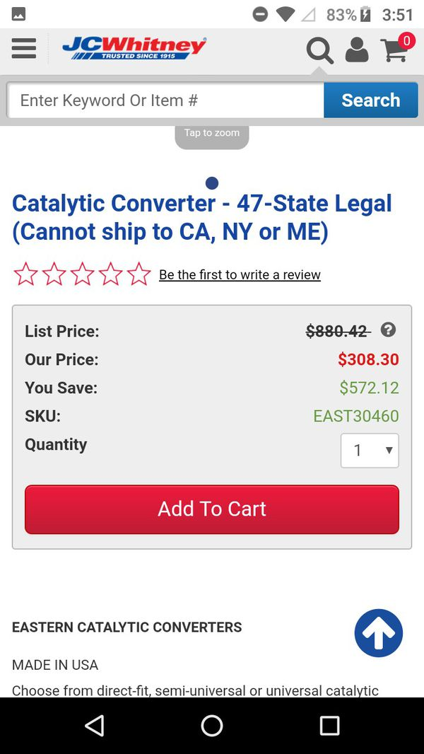 Catalytic corverter EAST30460