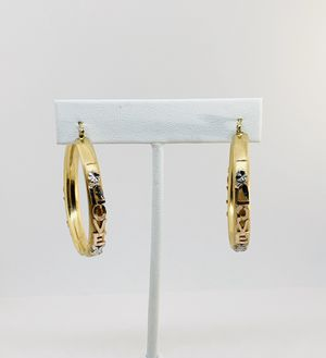 """Real 14k Gold Hoop Earrings """"Love"""" Yellow White Rose Gold Approx 40mm Diamond Cut Design for Sale in Houston, TX"""