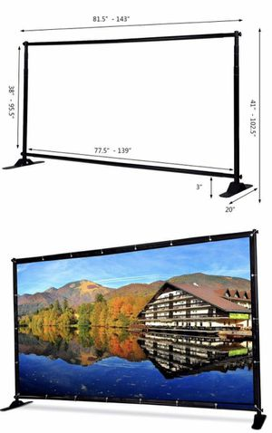 New in box 11.5x8 feet tall wedding party photo booth banner stand width and height adjustable telescopic trade show wall display backdrop frame for Sale in Whittier, CA