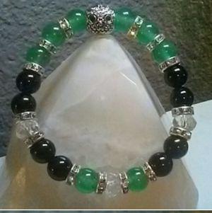 Owl Green Aventurine & Black Agate Crystal Healing. Energy Bracelet for Sale in Phoenix, AZ