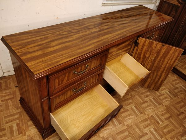 """Nice wooden big dresser with 9 drawers and big mirror in great condition all drawers working well dovetail drawers driveway pickup. L72""""*W19""""H31"""""""