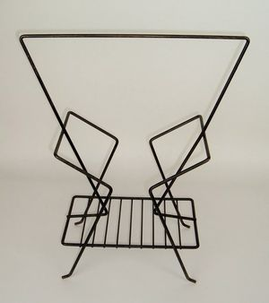 Mid Century Modern Magazine Rack Black Metal for Sale in Temple Terrace, FL