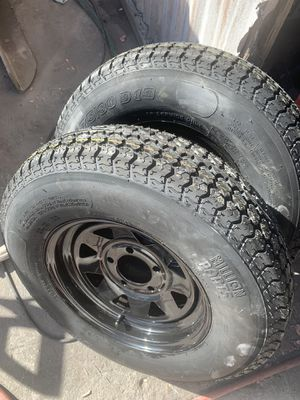 175/80/13 trailer tires with wheels NEW x2 pair for Sale in San Diego, CA