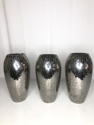 3-12inch tall vases with mirrored glass on outside. All in great condition. for Sale in Gilroy, CA