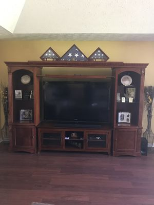 Cherry Wood Lighted Entertainment Center for Sale in Montgomery, AL