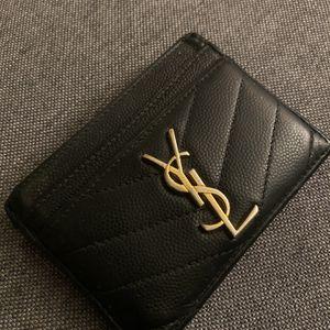 YSL CARD HOLDER MONOGRAM CARD CASE IN GRAIN DE POUDRE EMBOSSED LEATHER for Sale in Matawan, NJ