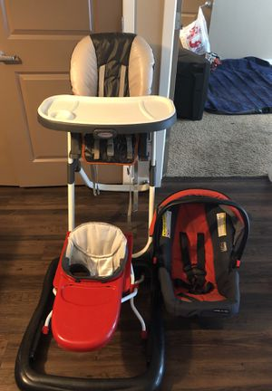 Combo deal all 3. High chair, car seat, and walker. for Sale in Denver, CO
