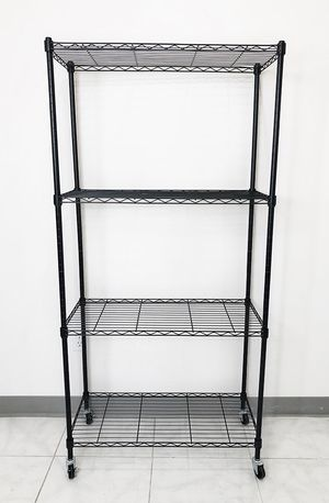 "New $50 Metal 4-Shelf Shelving Storage Unit Wire Organizer Rack Adjustable w/ Wheel Casters 30x14x61"" for Sale in South El Monte, CA"
