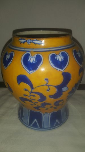 Yellow ground chinese porcelain pot ginger tea jar for Sale in Big Rock, TN
