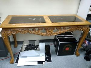 Wooden Long Glass Table for Sale in Columbus, OH