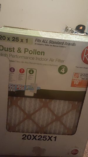 Rheem Dust & Pollen High Performance Indoor Air filter 20x25x1 AC for Sale in San Bernardino, CA