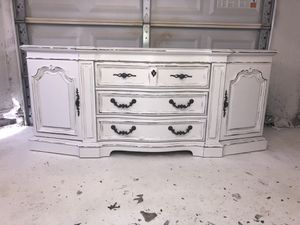 Solid wood farmhouse cottage shabby chic rustic vintage French provincial country dresser for Sale in Southlake, TX