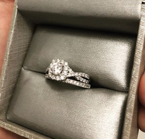 Zales Engagement ring/wedding band set 1 1/10CTW 14KWG 1/2CTRD for Sale in Raleigh, NC
