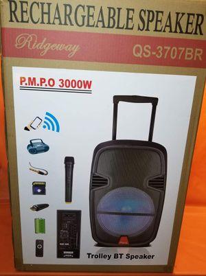 15 Inch New Bluetooth Speaker SD Card,Slot USB Port,FM Radio,wireless Microphone Included For Karaoke ( Bosina ) Bz3 for Sale in Moreno Valley, CA