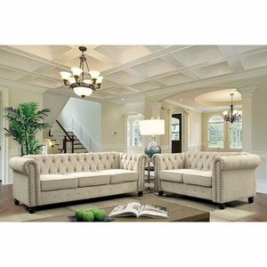 IVORY FABRIC CHESTERFIELD STYLE SOFA AND LOVESEAT SET for Sale in Pico Rivera, CA