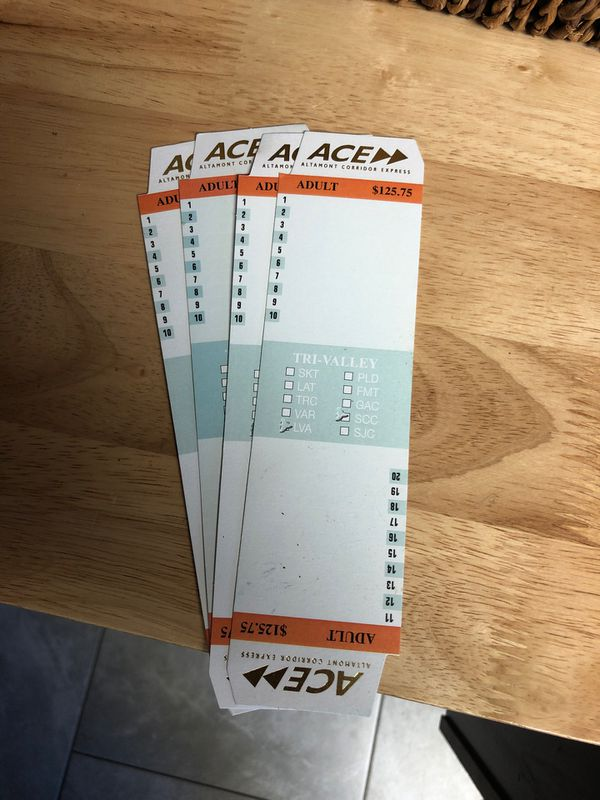 ACE train tickets Livermore to Santa Clara