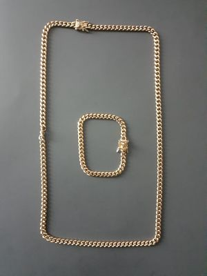 14 karat gold plated Cuban link chain and bracelet set.... for Sale in Hollywood, FL