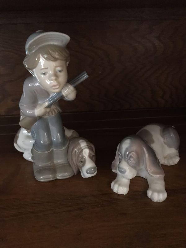 LLADRO boy hunting and dog figurines