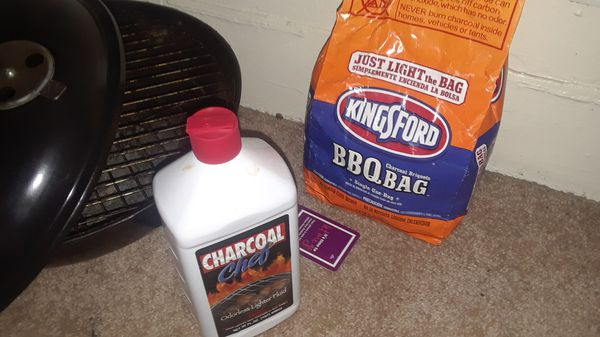Portable bbq with charcoal and lightwr fluid
