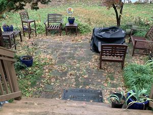 WOOD PATIO FURNITURE - 4 CHAIRS, 1 COUCH, 2 SIDE TABLES for Sale in Arlington, VA